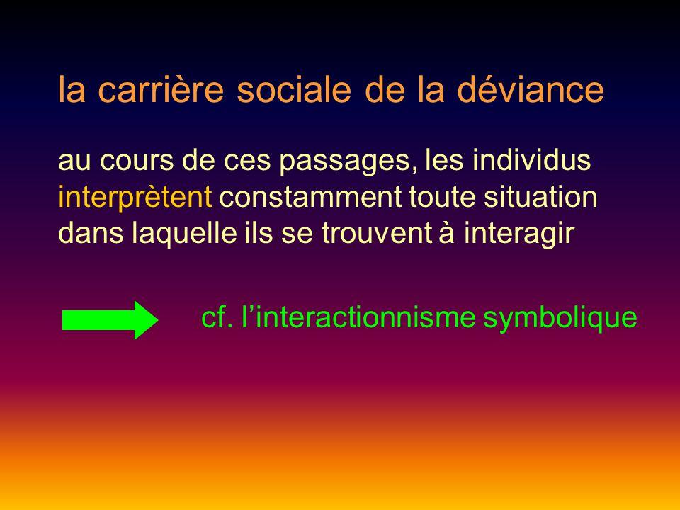 la carrière sociale de la déviance au cours de ces passages, les individus interprètent constamment toute situation dans laquelle ils se trouvent à interagir cf.