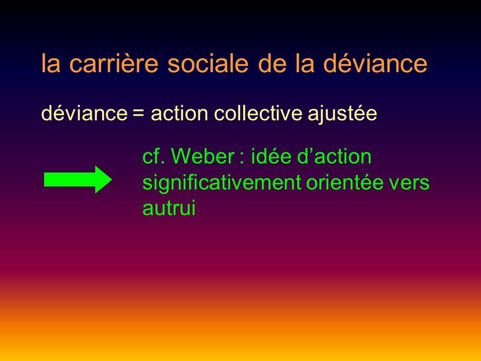 la carrière sociale de la déviance déviance = action collective ajustée cf.