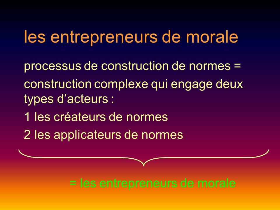 les entrepreneurs de morale processus de construction de normes = construction complexe qui engage deux types d'acteurs : 1 les créateurs de normes 2 les applicateurs de normes = les entrepreneurs de morale
