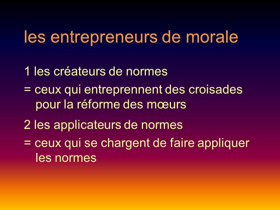 les entrepreneurs de morale 2 les applicateurs de normes = ceux qui se chargent de faire appliquer les normes 1 les créateurs de normes = ceux qui entreprennent des croisades pour la réforme des mœurs
