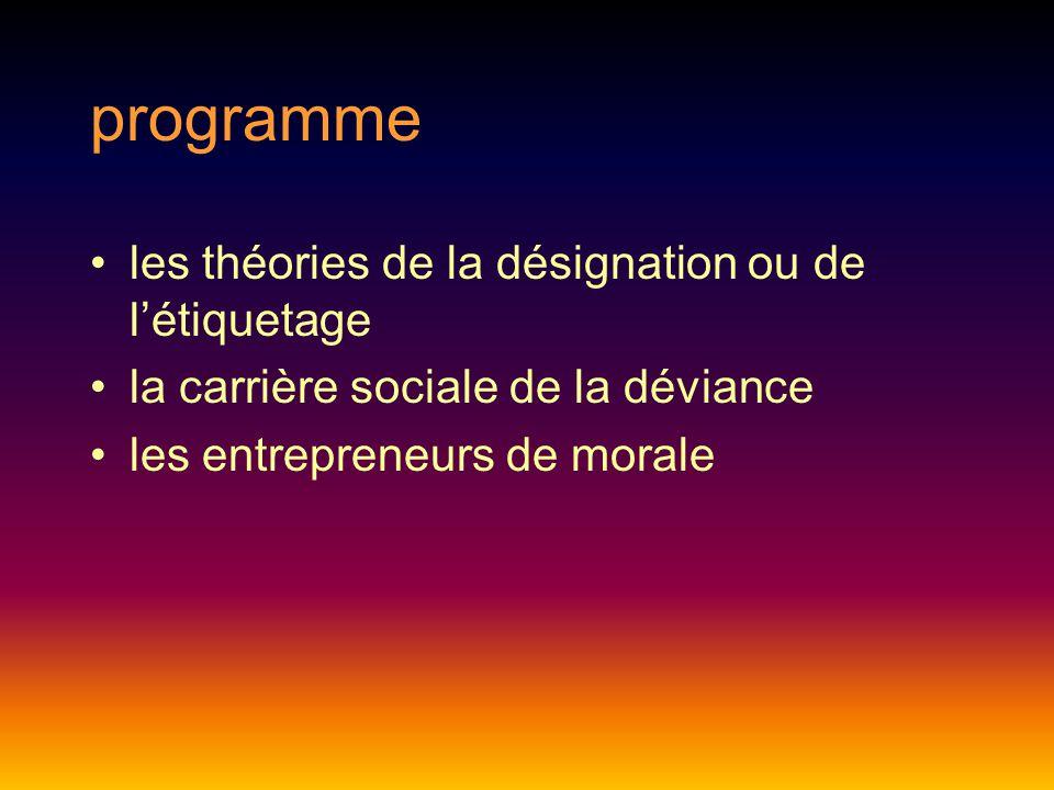 programme les théories de la désignation ou de l'étiquetage la carrière sociale de la déviance les entrepreneurs de morale