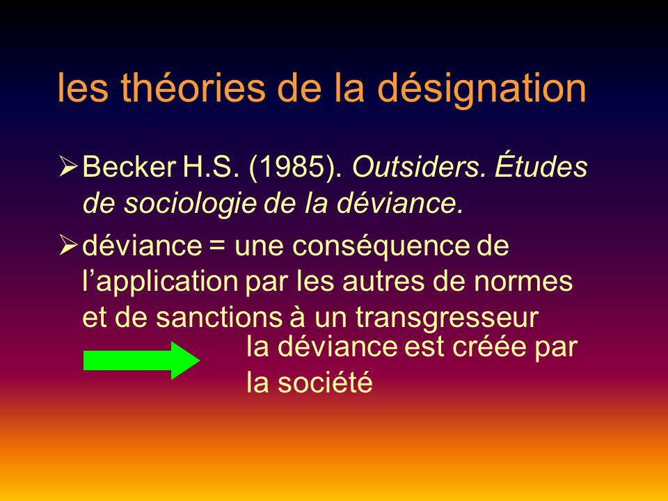 les théories de la désignation  Becker H.S.(1985).