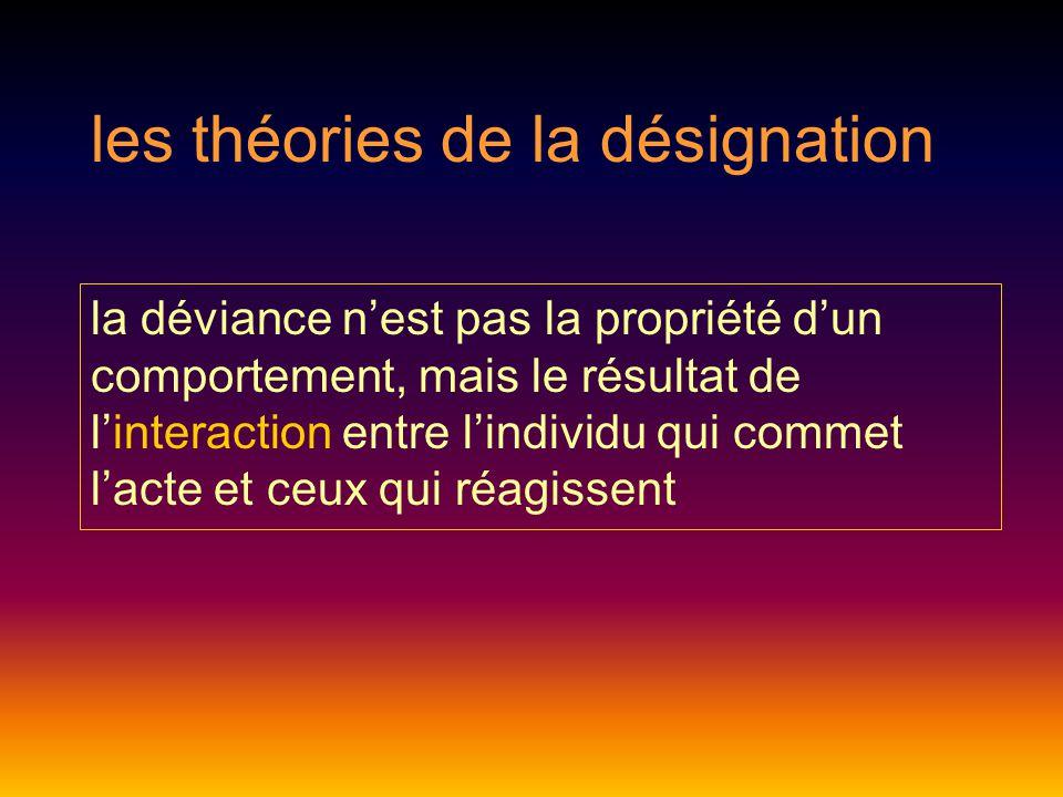 les théories de la désignation la déviance n'est pas la propriété d'un comportement, mais le résultat de l'interaction entre l'individu qui commet l'acte et ceux qui réagissent
