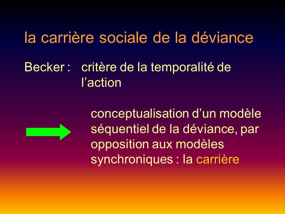 la carrière sociale de la déviance Becker : critère de la temporalité de l'action conceptualisation d'un modèle séquentiel de la déviance, par opposition aux modèles synchroniques : la carrière