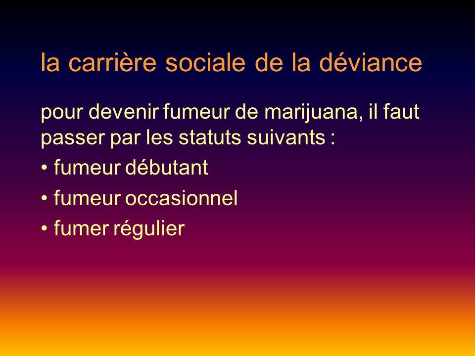 la carrière sociale de la déviance pour devenir fumeur de marijuana, il faut passer par les statuts suivants : fumeur débutant fumeur occasionnel fumer régulier