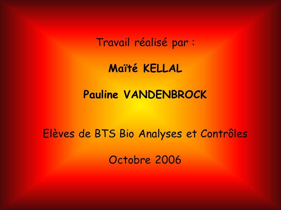Travail réalisé par : Maïté KELLAL Pauline VANDENBROCK Elèves de BTS Bio Analyses et Contrôles Octobre 2006