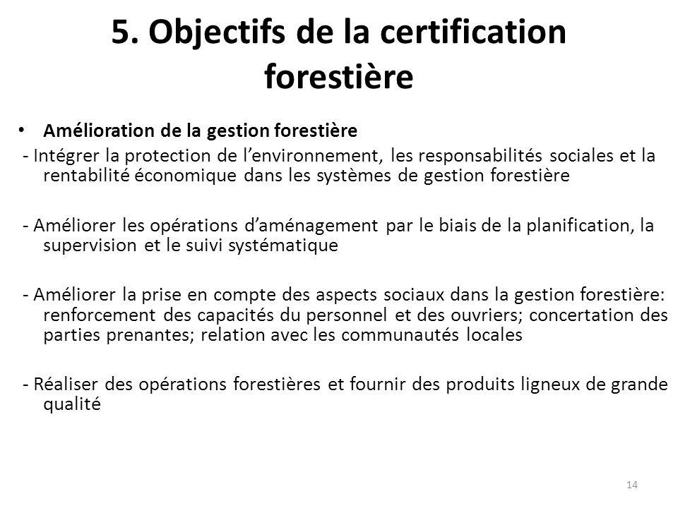 14 5. Objectifs de la certification forestière Amélioration de la gestion forestière - Intégrer la protection de l'environnement, les responsabilités