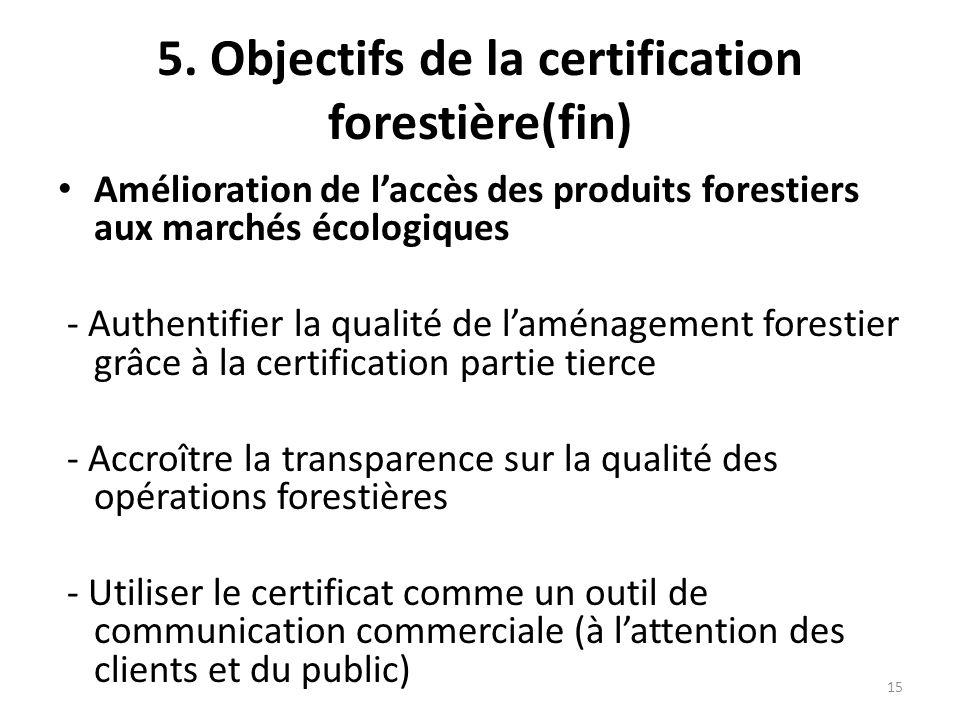 15 5. Objectifs de la certification forestière(fin) Amélioration de l'accès des produits forestiers aux marchés écologiques - Authentifier la qualité
