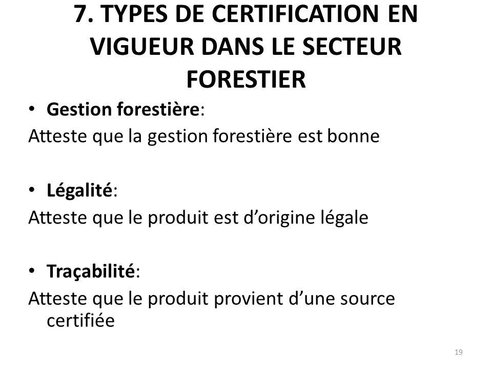 19 7. TYPES DE CERTIFICATION EN VIGUEUR DANS LE SECTEUR FORESTIER Gestion forestière: Atteste que la gestion forestière est bonne Légalité: Atteste qu