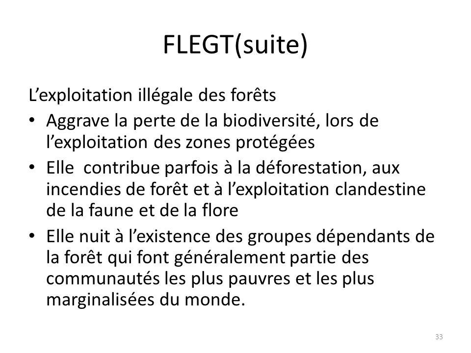 33 FLEGT(suite) L'exploitation illégale des forêts Aggrave la perte de la biodiversité, lors de l'exploitation des zones protégées Elle contribue parf