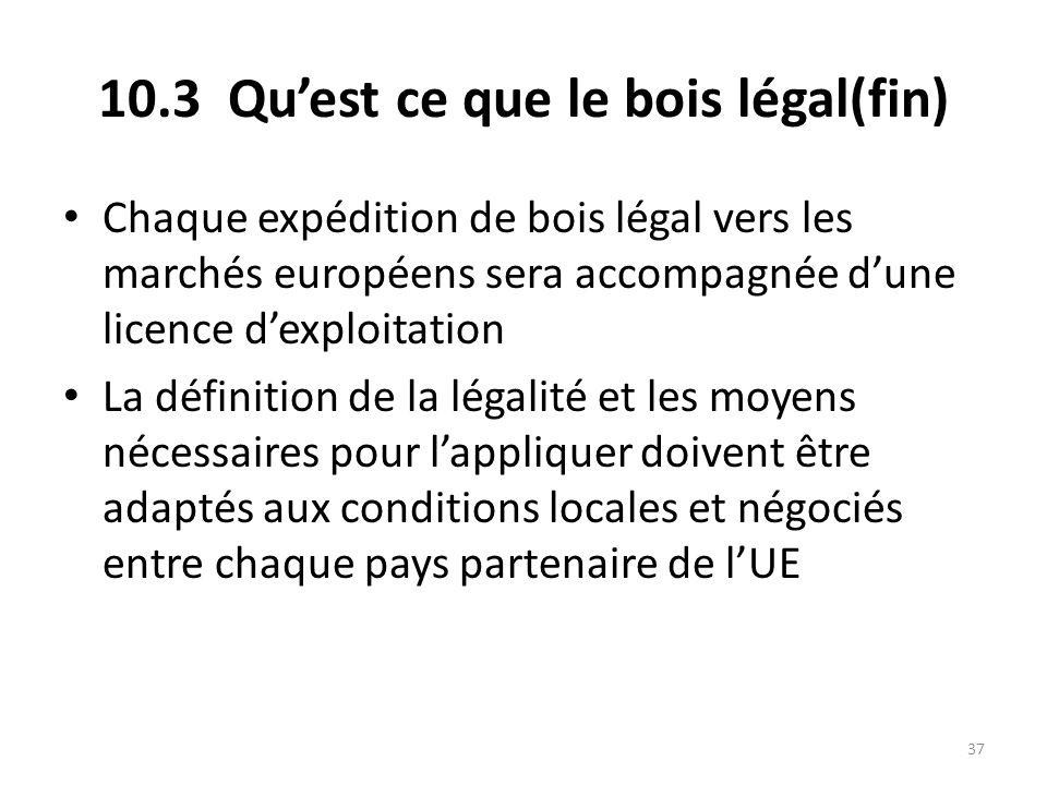 37 10.3 Qu'est ce que le bois légal(fin) Chaque expédition de bois légal vers les marchés européens sera accompagnée d'une licence d'exploitation La d