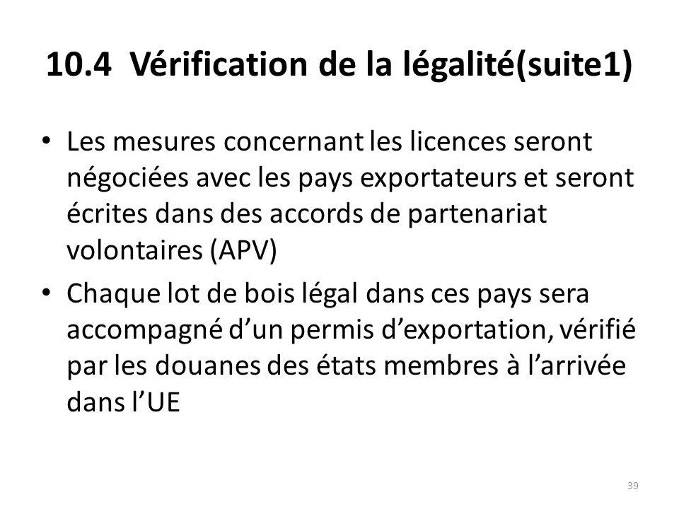 39 10.4 Vérification de la légalité(suite1) Les mesures concernant les licences seront négociées avec les pays exportateurs et seront écrites dans des