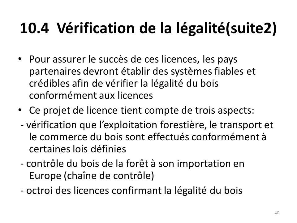 40 10.4 Vérification de la légalité(suite2) Pour assurer le succès de ces licences, les pays partenaires devront établir des systèmes fiables et crédi