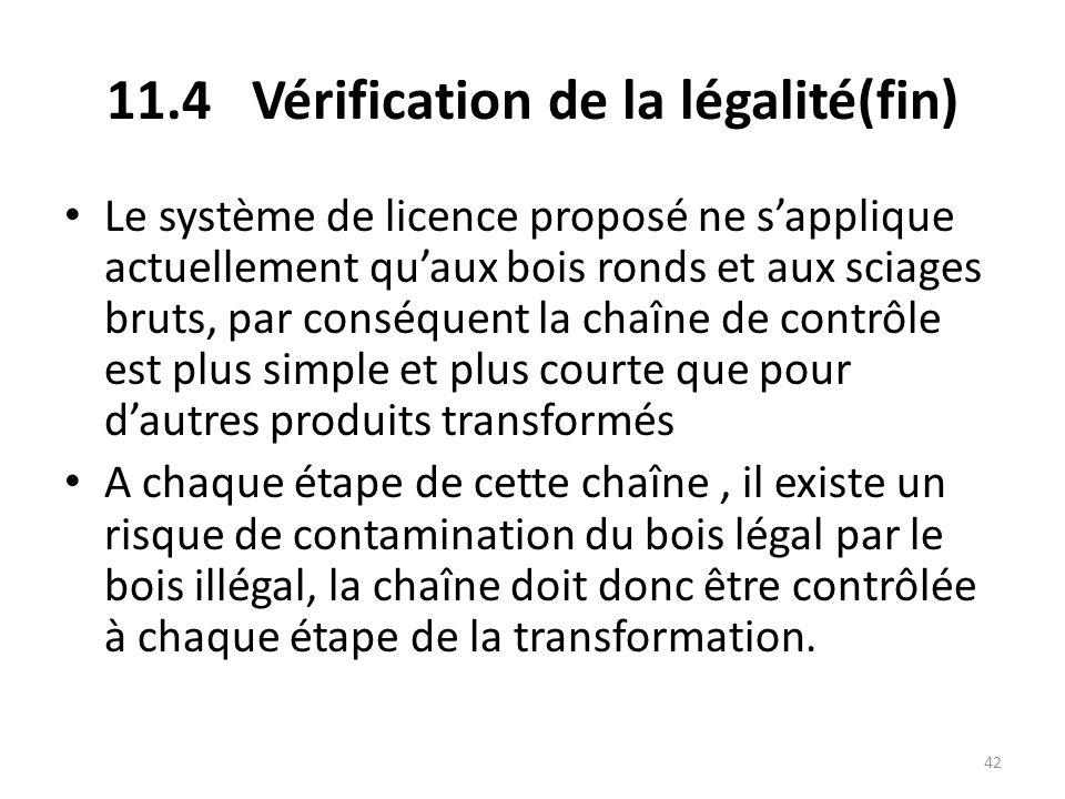 42 11.4 Vérification de la légalité(fin) Le système de licence proposé ne s'applique actuellement qu'aux bois ronds et aux sciages bruts, par conséque