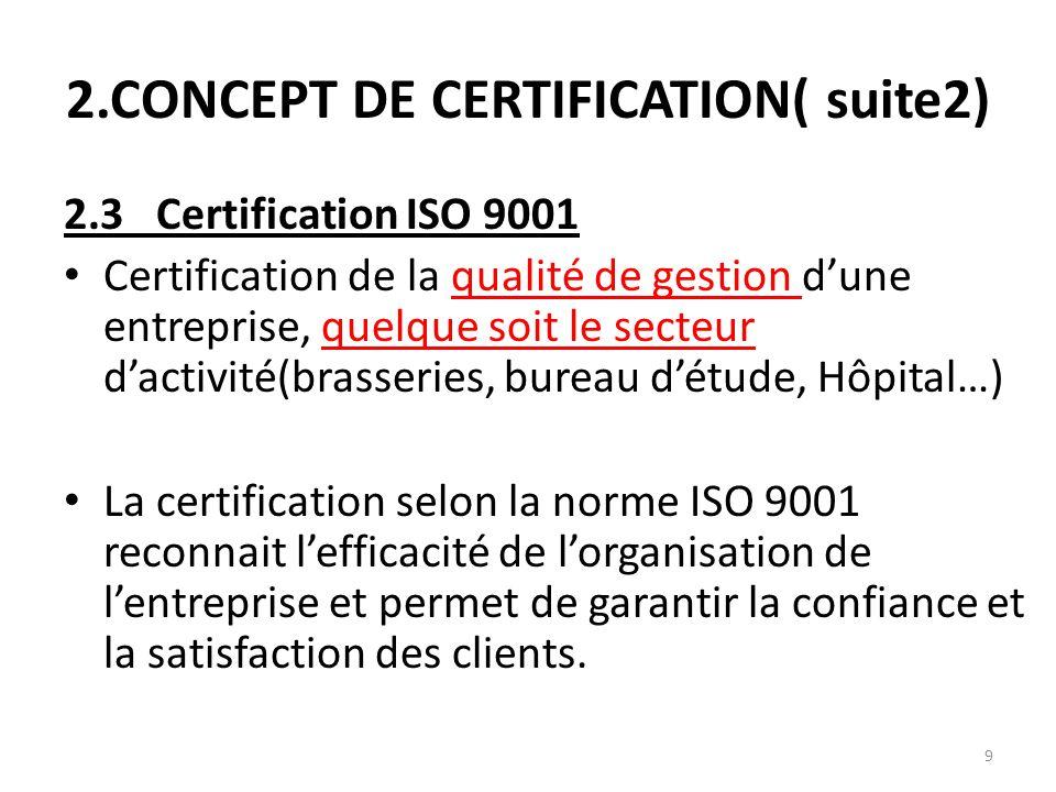 9 2.CONCEPT DE CERTIFICATION( suite2) 2.3 Certification ISO 9001 Certification de la qualité de gestion d'une entreprise, quelque soit le secteur d'ac