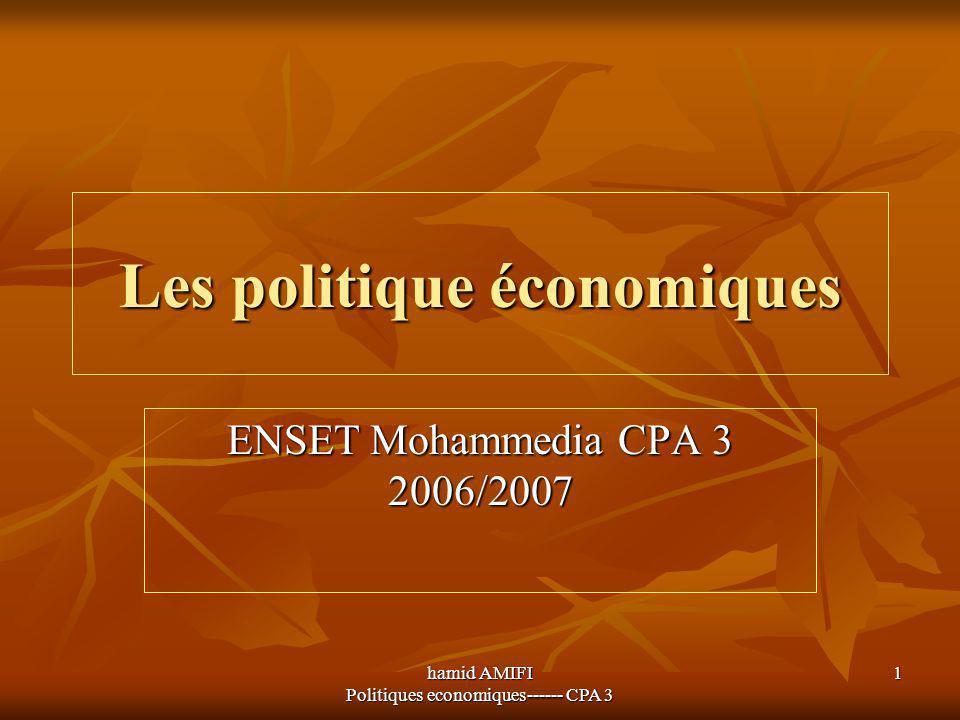 hamid AMIFI Politiques economiques------ CPA 3 1 Les politique économiques ENSET Mohammedia CPA 3 2006/2007