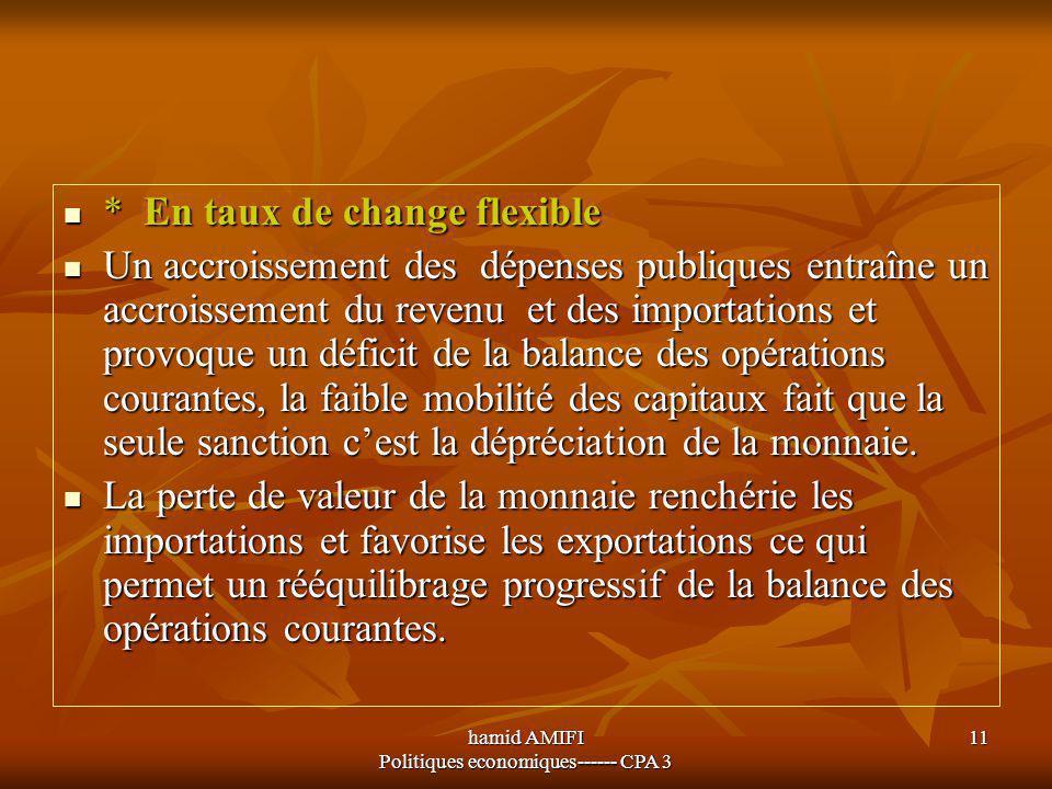 hamid AMIFI Politiques economiques------ CPA 3 11 * En taux de change flexible * En taux de change flexible Un accroissement des dépenses publiques en