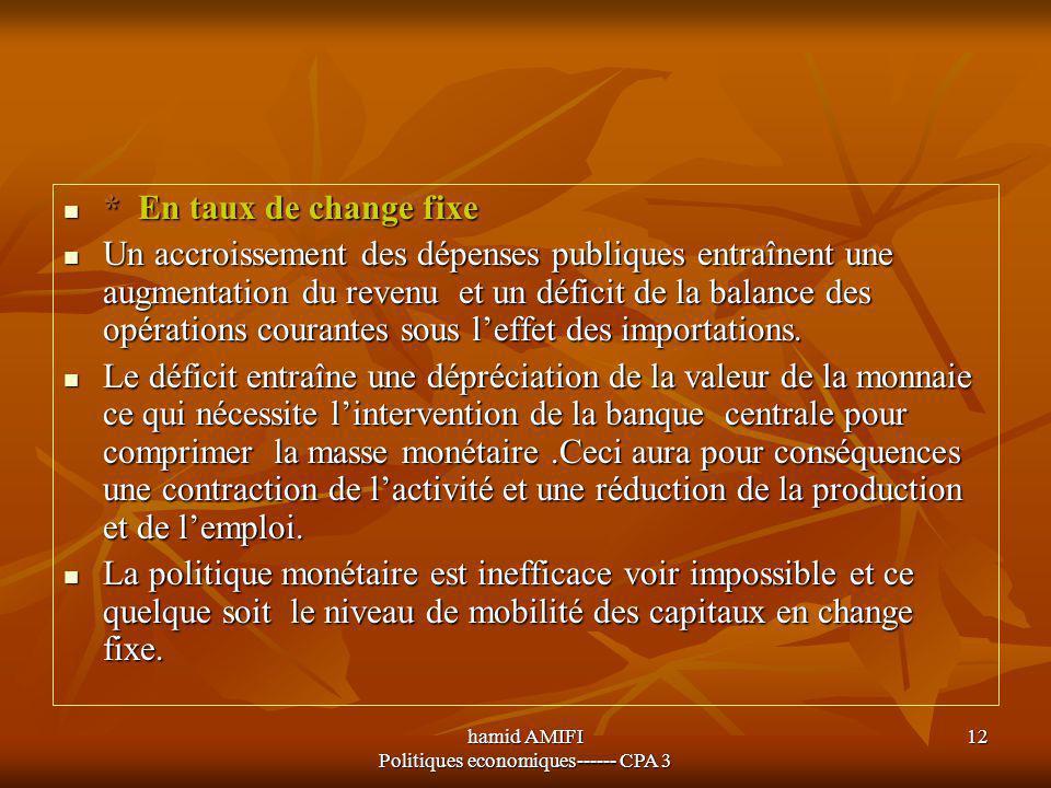 hamid AMIFI Politiques economiques------ CPA 3 12 * En taux de change fixe * En taux de change fixe Un accroissement des dépenses publiques entraînent