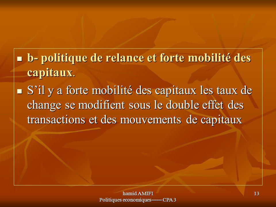 hamid AMIFI Politiques economiques------ CPA 3 13 b- politique de relance et forte mobilité des capitaux. b- politique de relance et forte mobilité de