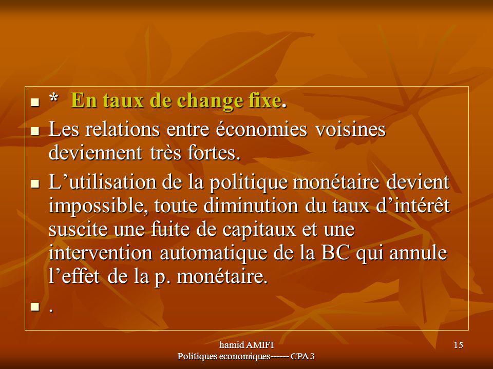 hamid AMIFI Politiques economiques------ CPA 3 15 * En taux de change fixe. * En taux de change fixe. Les relations entre économies voisines deviennen