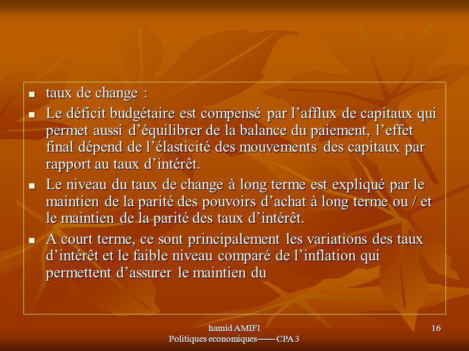 hamid AMIFI Politiques economiques------ CPA 3 16 taux de change : taux de change : Le déficit budgétaire est compensé par l'afflux de capitaux qui pe