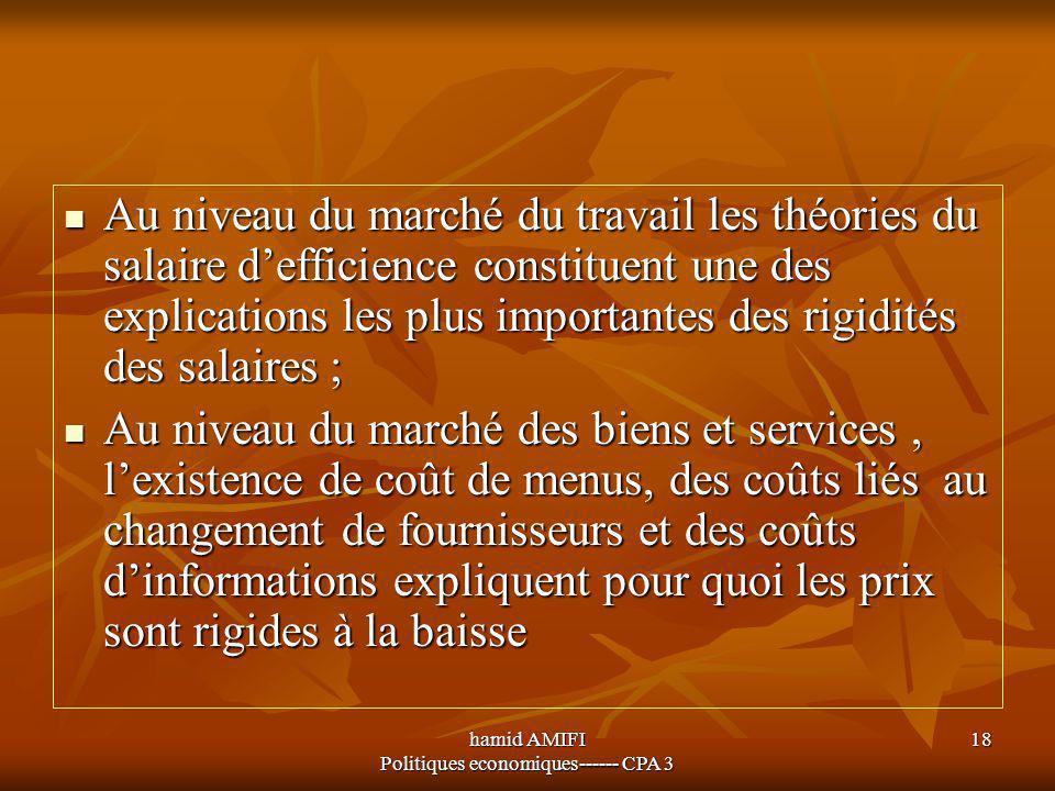 hamid AMIFI Politiques economiques------ CPA 3 18 Au niveau du marché du travail les théories du salaire d'efficience constituent une des explications