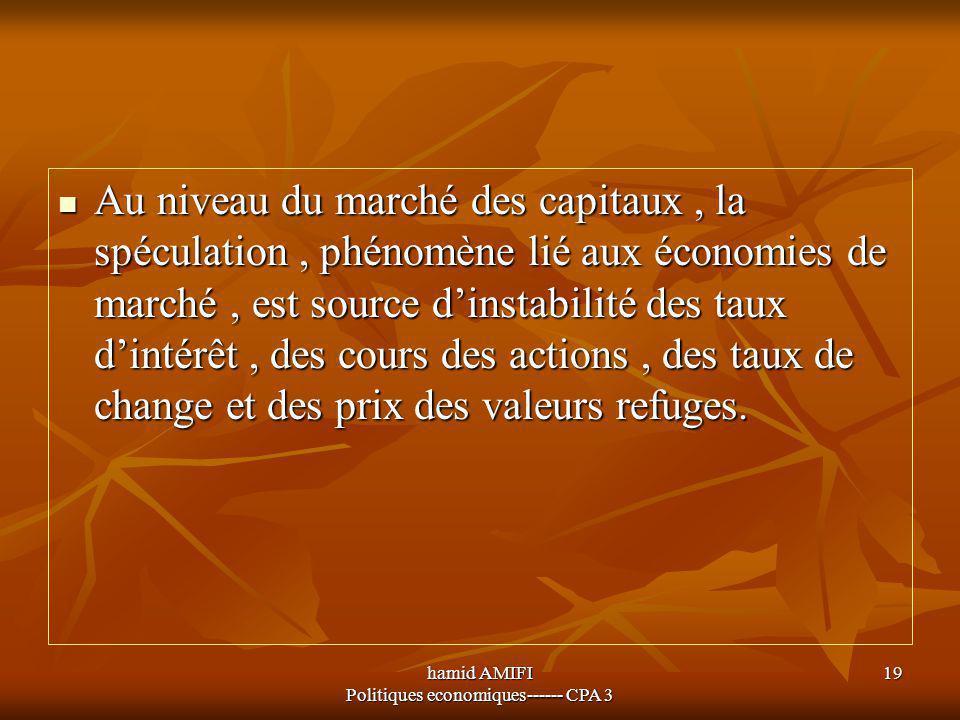 hamid AMIFI Politiques economiques------ CPA 3 19 Au niveau du marché des capitaux, la spéculation, phénomène lié aux économies de marché, est source