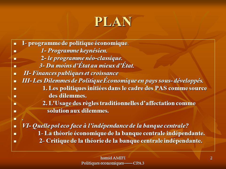 hamid AMIFI Politiques economiques------ CPA 3 2 PLAN I- programme de politique économique. I- programme de politique économique. 1- Programme keynési