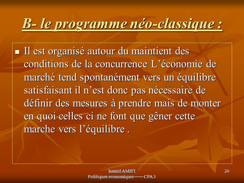 hamid AMIFI Politiques economiques------ CPA 3 20 B- le programme néo-classique : Il est organisé autour du maintient des conditions de la concurrence