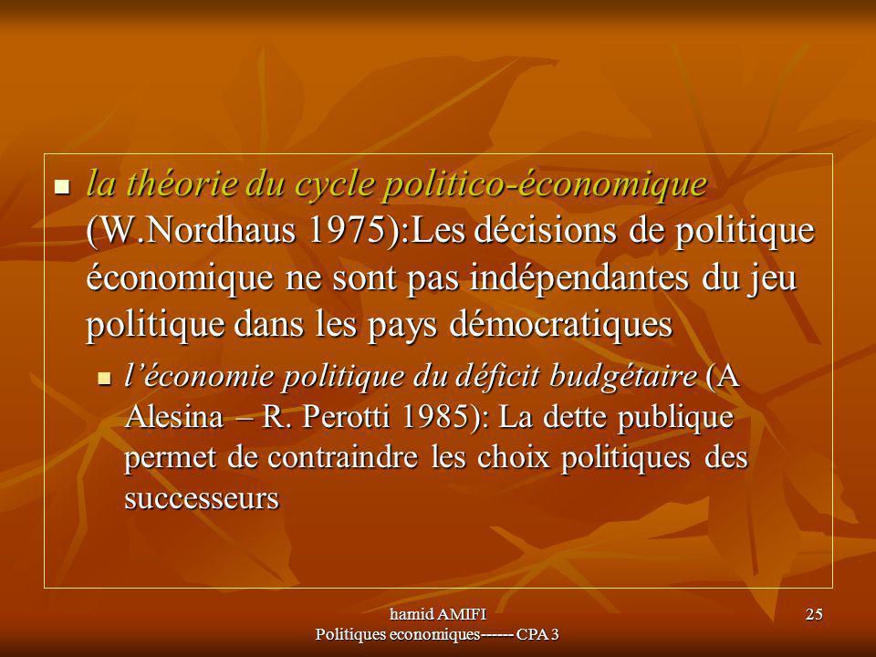 hamid AMIFI Politiques economiques------ CPA 3 25 la théorie du cycle politico-économique (W.Nordhaus 1975):Les décisions de politique économique ne s