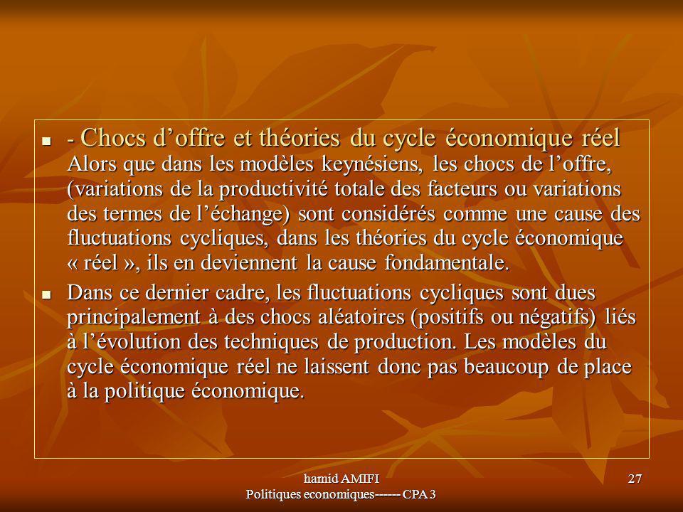 hamid AMIFI Politiques economiques------ CPA 3 27 - Chocs d'offre et théories du cycle économique réel Alors que dans les modèles keynésiens, les choc