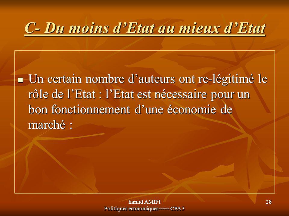 hamid AMIFI Politiques economiques------ CPA 3 28 C- Du moins d'Etat au mieux d'Etat Un certain nombre d'auteurs ont re-légitimé le rôle de l'Etat : l