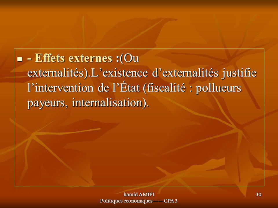 hamid AMIFI Politiques economiques------ CPA 3 30 - Effets externes :(Ou externalités).L'existence d'externalités justifie l'intervention de l'État (f