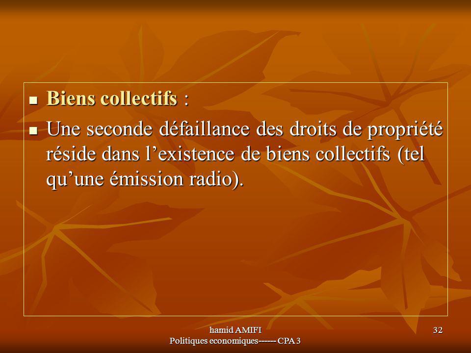 hamid AMIFI Politiques economiques------ CPA 3 32 Biens collectifs : Biens collectifs : Une seconde défaillance des droits de propriété réside dans l'