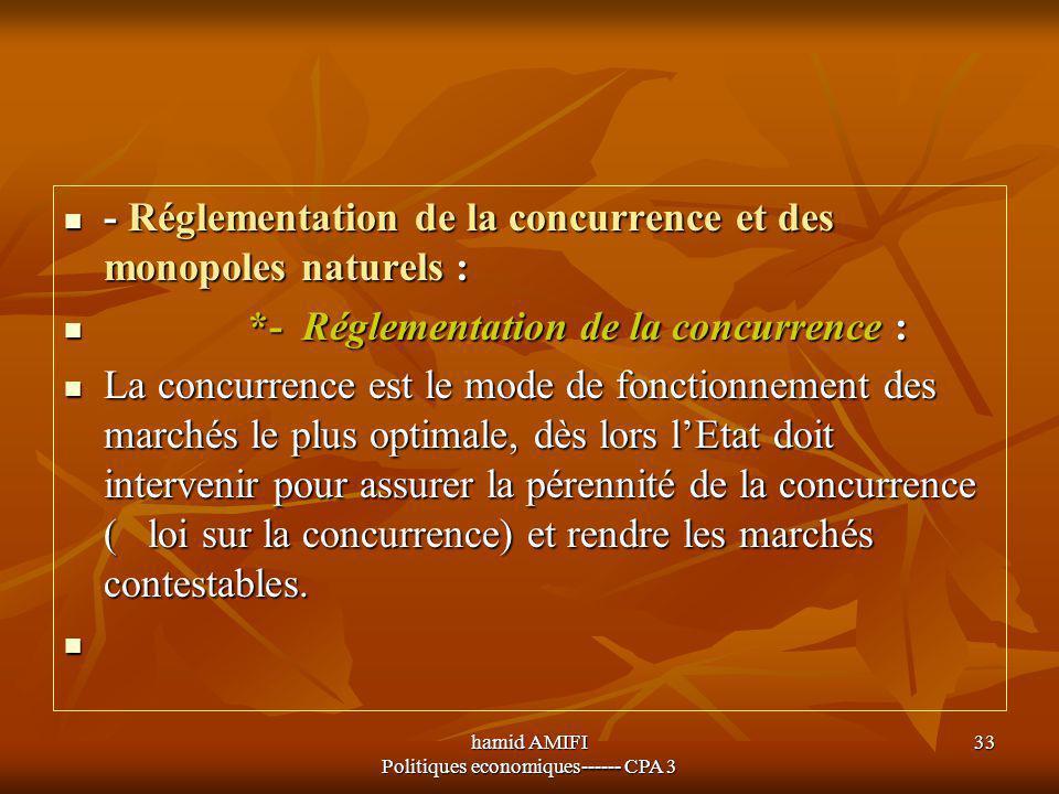 hamid AMIFI Politiques economiques------ CPA 3 33 - Réglementation de la concurrence et des monopoles naturels : - Réglementation de la concurrence et