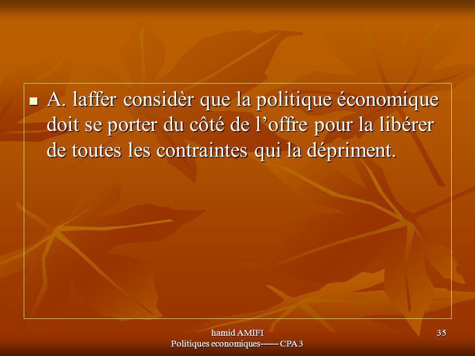 hamid AMIFI Politiques economiques------ CPA 3 35 A. laffer considèr que la politique économique doit se porter du côté de l'offre pour la libérer de