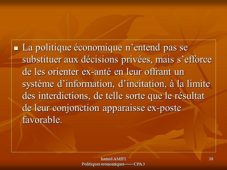 hamid AMIFI Politiques economiques------ CPA 3 38 La politique économique n'entend pas se substituer aux décisions privées, mais s'efforce de les orie