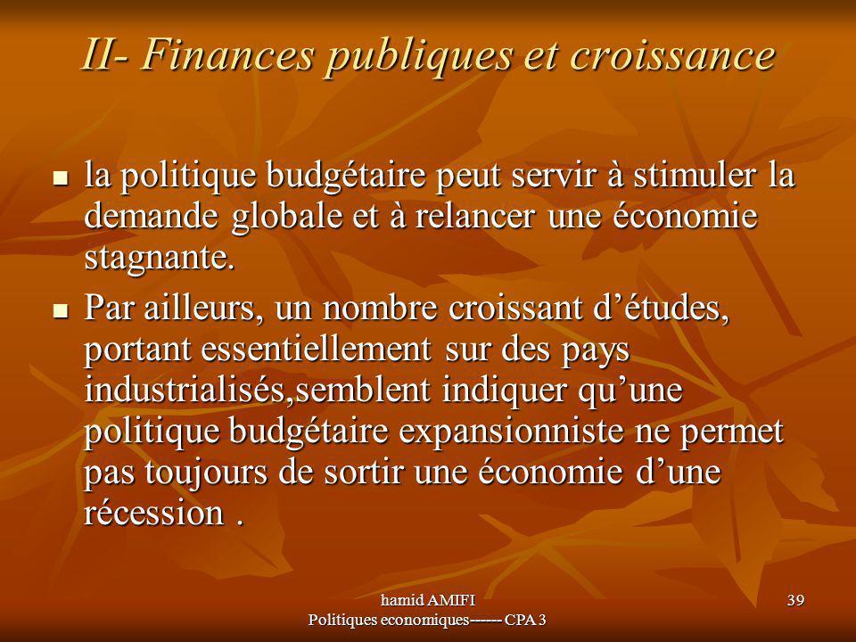 hamid AMIFI Politiques economiques------ CPA 3 39 II- Finances publiques et croissance la politique budgétaire peut servir à stimuler la demande globa
