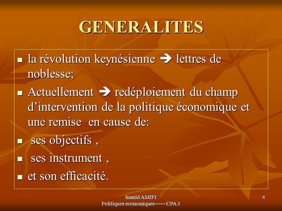 hamid AMIFI Politiques economiques------ CPA 3 4 GENERALITES la révolution keynésienne  lettres de noblesse; la révolution keynésienne  lettres de n
