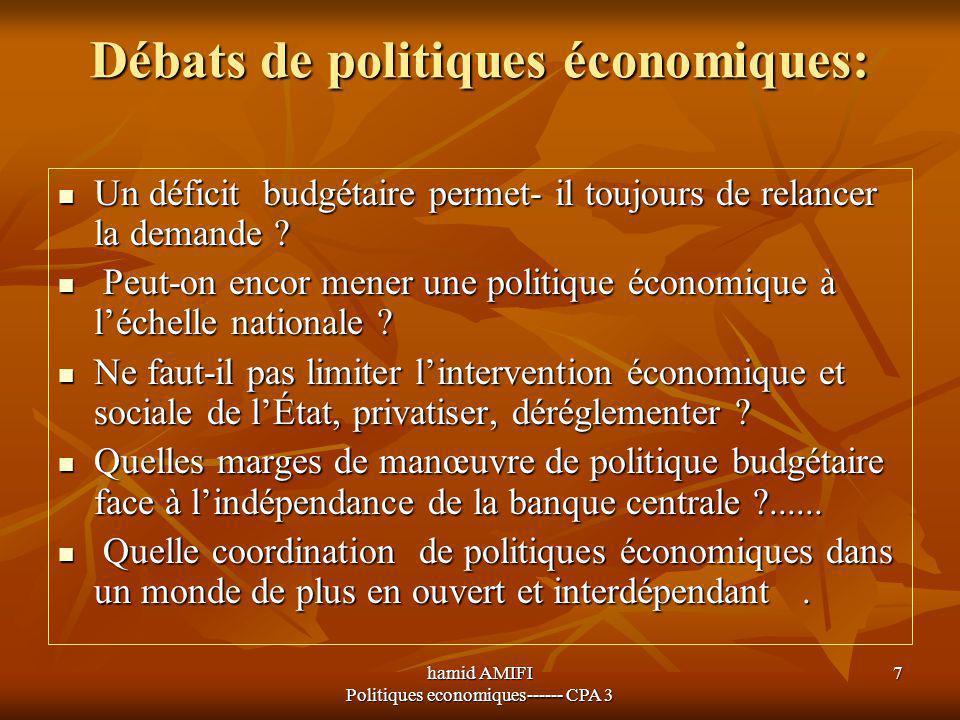 hamid AMIFI Politiques economiques------ CPA 3 7 Débats de politiques économiques: Un déficit budgétaire permet- il toujours de relancer la demande ?