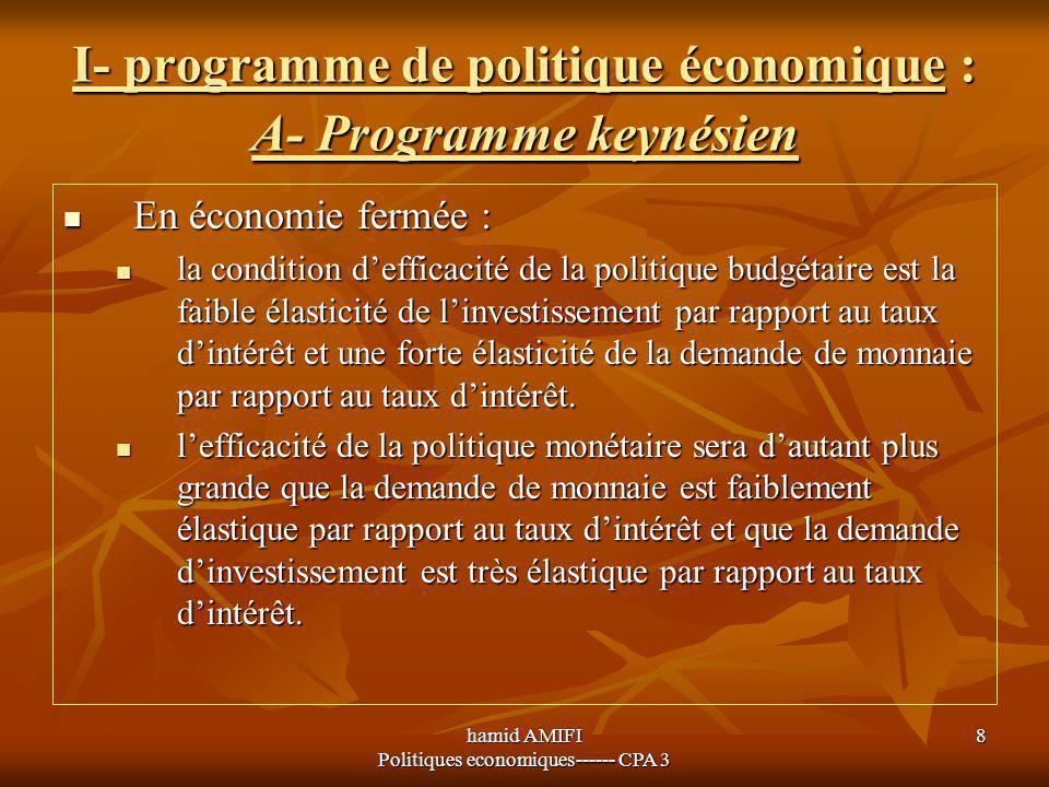 hamid AMIFI Politiques economiques------ CPA 3 8 I- programme de politique économique : A- Programme keynésien En économie fermée : En économie fermée