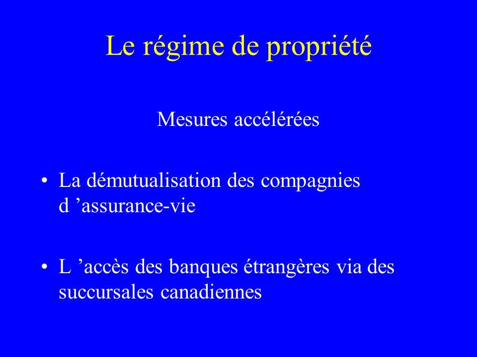Le régime de propriété Mesures accélérées La démutualisation des compagnies d 'assurance-vie L 'accès des banques étrangères via des succursales canad