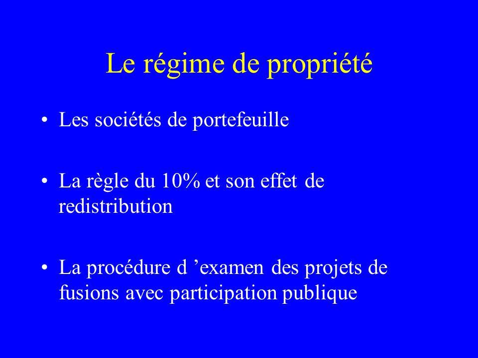 Le régime de propriété Les sociétés de portefeuille La règle du 10% et son effet de redistribution La procédure d 'examen des projets de fusions avec participation publique