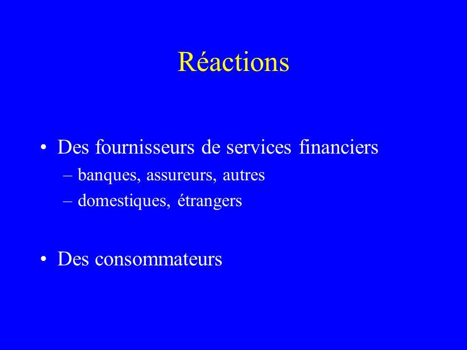 Réactions Des fournisseurs de services financiers –banques, assureurs, autres –domestiques, étrangers Des consommateurs
