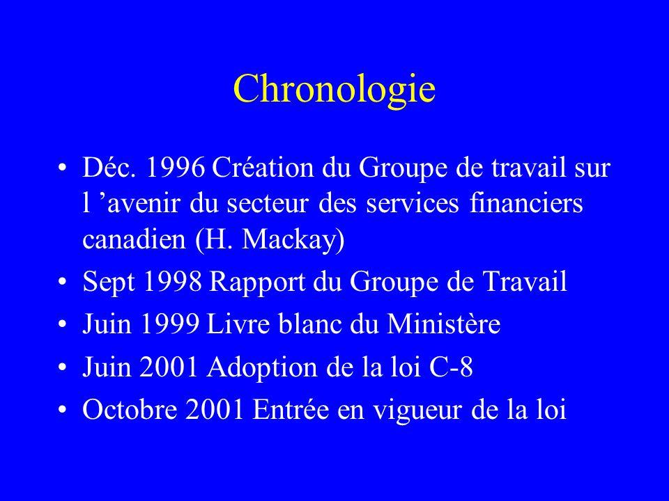 Chronologie Déc. 1996 Création du Groupe de travail sur l 'avenir du secteur des services financiers canadien (H. Mackay) Sept 1998 Rapport du Groupe