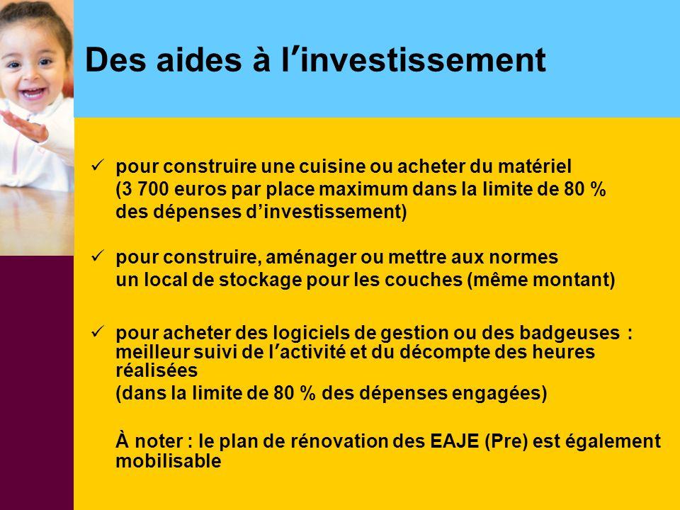 Des aides à l'investissement pour construire une cuisine ou acheter du matériel (3 700 euros par place maximum dans la limite de 80 % des dépenses d'i