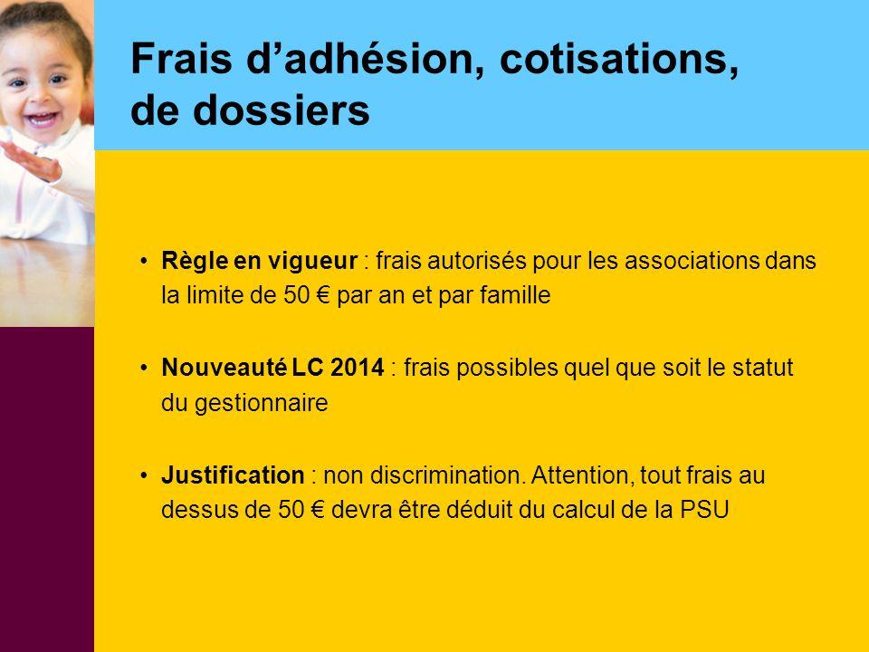 Frais d'adhésion, cotisations, de dossiers Règle en vigueur : frais autorisés pour les associations dans la limite de 50 € par an et par famille Nouve