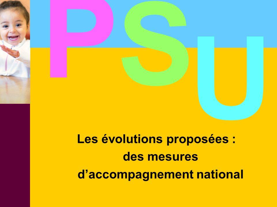 Les évolutions proposées : des mesures d'accompagnement national P S U