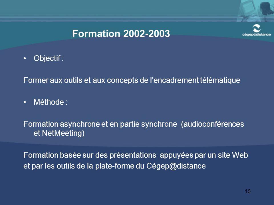 10 Formation 2002-2003 Objectif : Former aux outils et aux concepts de l'encadrement télématique Méthode : Formation asynchrone et en partie synchrone (audioconférences et NetMeeting) Formation basée sur des présentations appuyées par un site Web et par les outils de la plate-forme du Cégep@distance