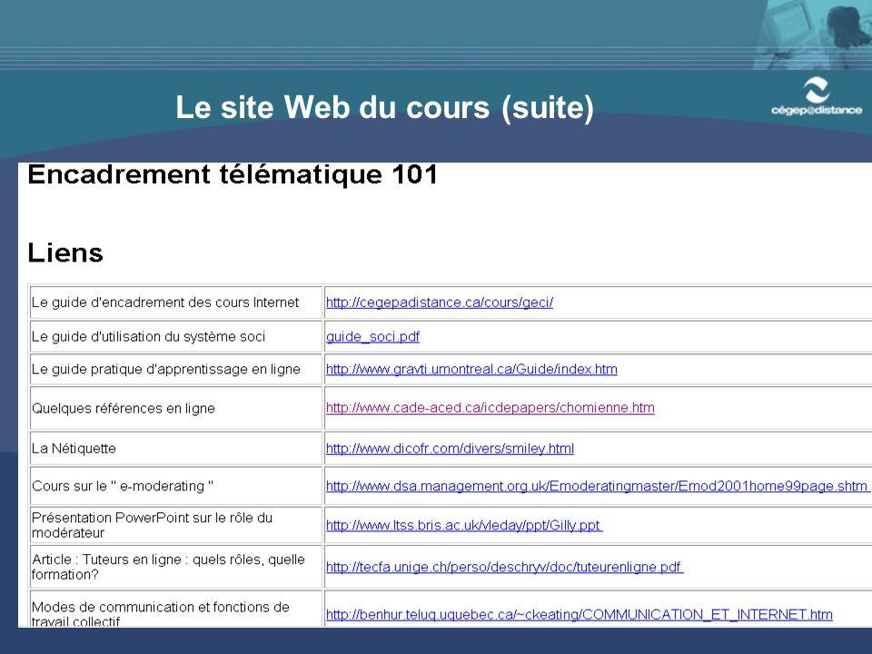 18 Le site Web du cours (suite)